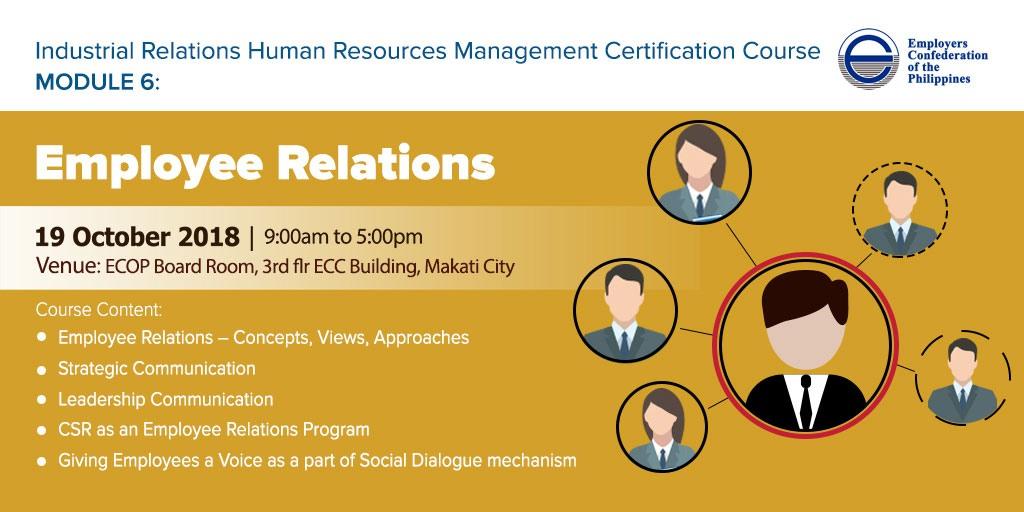 Irhr Certification Course Batch 2 Module 6 Employee Relations