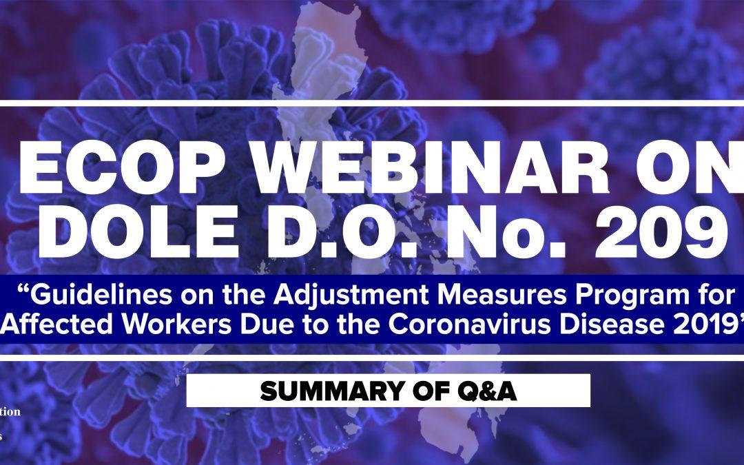 Summary of Q&A on the ECOP Webinar on DOLE D.O. No. 209