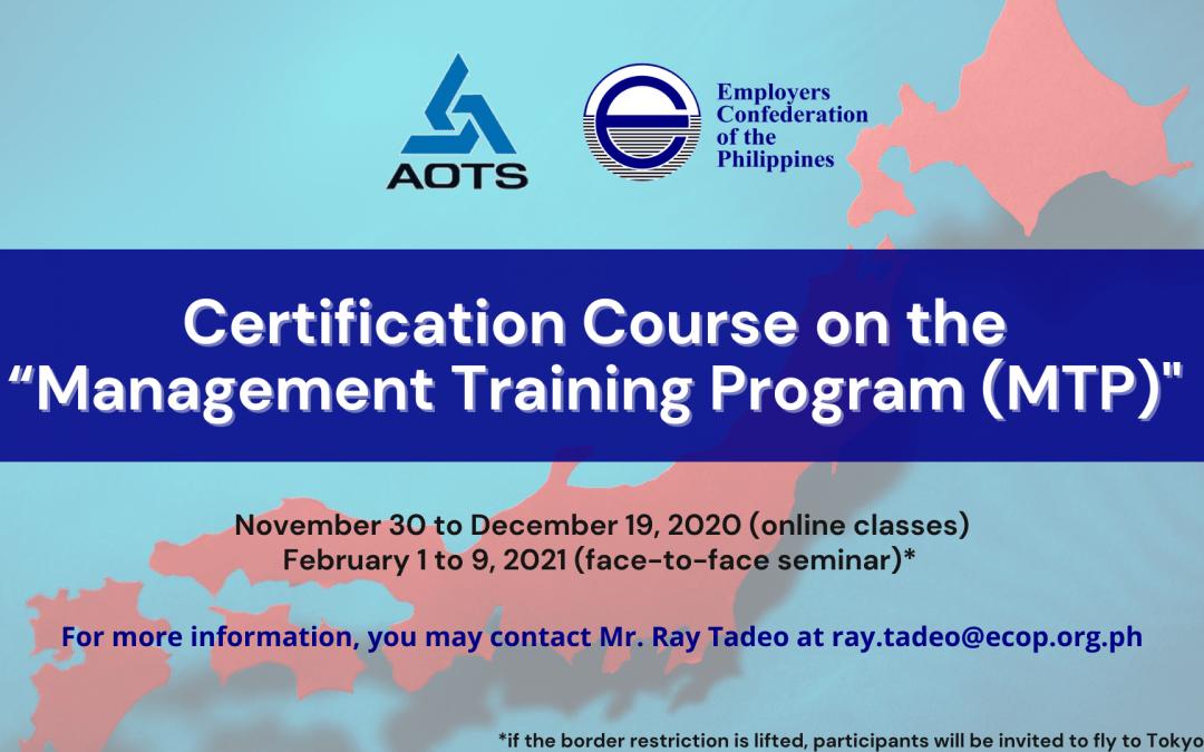 "Certification Course on the ""Management Training Program (MTP)"" [ERMI]"