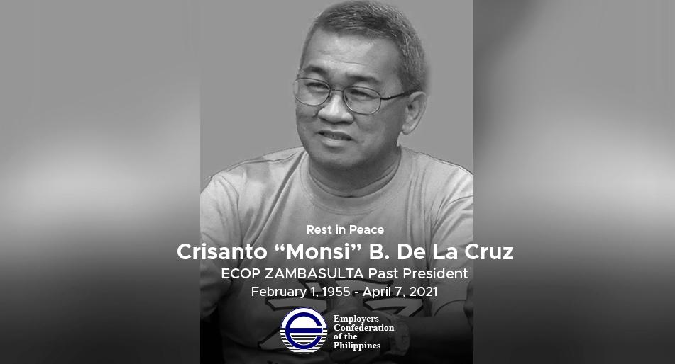 "ECOP mourns the passing of ZAMBASULTA Past President ""Monsi"""